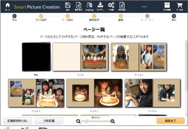 Smart Picture Creationソフトのフォトブックページ一覧画面