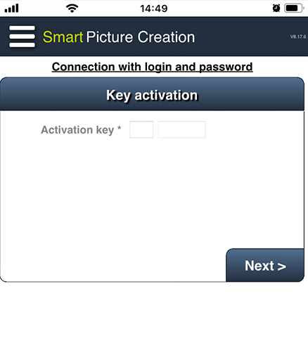 Smart Picture Creationアプリの店舗認証コード入力画面